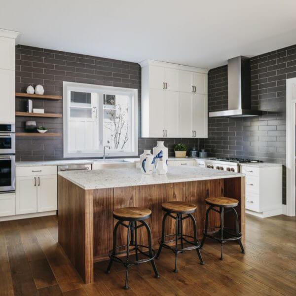 Classic Contemporary Modern White Kitchen with Brown Tiled Splashback Country Style