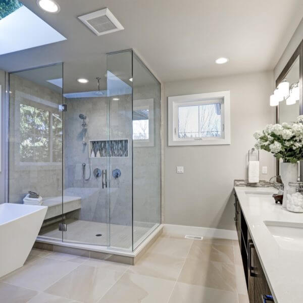 Modern White Small Bathroom by Sydney Style Kitchens