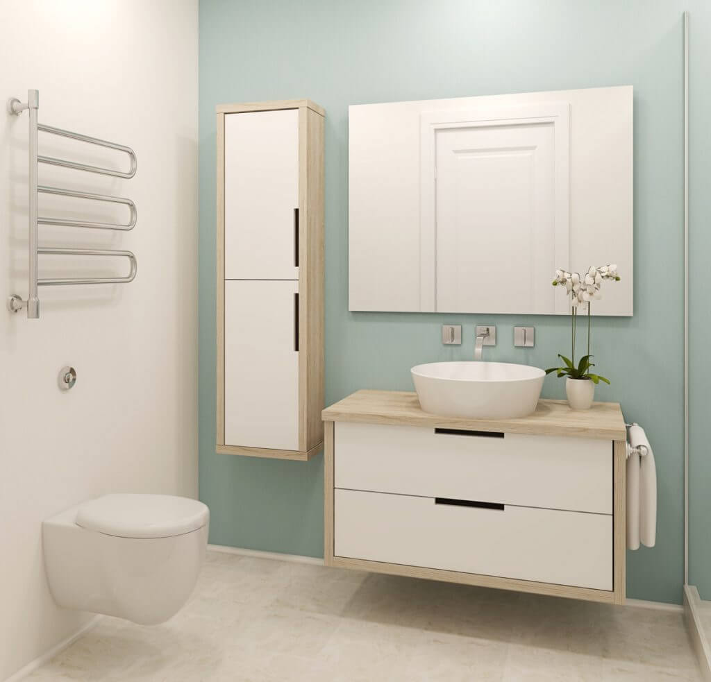 Modern bathroom interior Design using CAD 3d render. White cabinets with wooden finish.